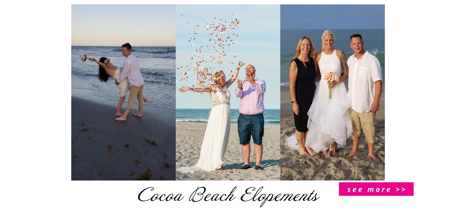 collage of beach weddings and elopements